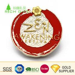 Eindeutiges Entwurfs-kundenspezifisches Firmenzeichen-Metallzink-Legierungs-buntes hartes weiches Decklack-Gold überzogene Blumen-Auto-runde geformte Herausforderungs-Münze mit Belüftung-Beutel für Andenken-Geschenk
