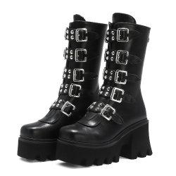 Mujeres Nuevas hebillas de zapatos de damas zapatos Dama Zapatos Zapatos de Tacón Alto botas militares de largo