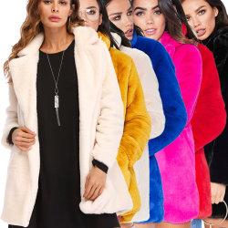 2021 신스타일 디자이너 패션 여성 겨울 라펠 루즈 모피 코트