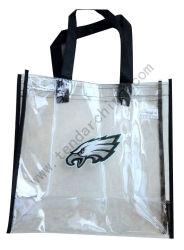 プラスチックビニールのギフトの食料雑貨入れの袋のゆとりPVCショッピングハンドバッグの再使用可能な透過トートバック