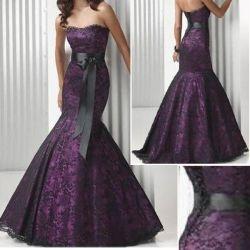 標準的な党プロムのガウンの黒の紫色のレースの人魚のイブニング・ドレス(E38)