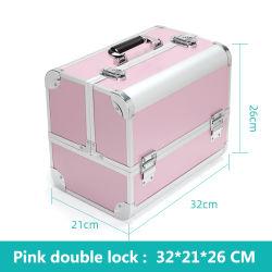 메이크업 케이스 큰 수용량 휴대용 자물쇠 알루미늄 합금 직업적인 장식용 저장 상자 못 아름다움 속눈섭 귀영나팔 장비