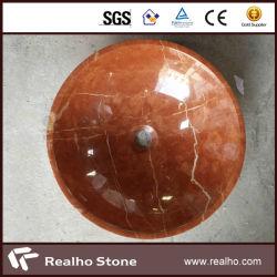 浴室のための円形の自然なRojoアリカンテの大理石の石造りの洗面器