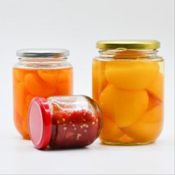 L'emballage alimentaire forme Roud bocal en verre avec couvercles noir pour la confiture, miel, les aliments pour bébés de stockage, de faveurs de mariage
