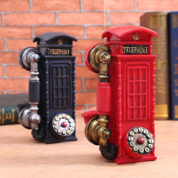 Receptor do telefone antigo artesanato Polyresin Coin Bank Dom e decoração