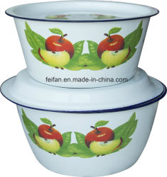 Los dedos de esmalte recipiente con tapa y recipiente de plato/Vientre esmalte forma/Houseware