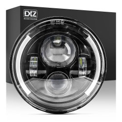 Dxz 7인치 블랙 라운드 랭글러 오토바이 트럭 자동 헤드 라이트 JK 지프용 천사 아이 DRL LED 헤드라이트