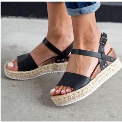 Superstarer al tobillo cómodos zapatos peep toe de verano sandalias de plataforma de Mujeres