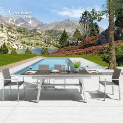 Conjunto de jardim extensível de madeira plástica para móveis de exterior Hot Sale Com cadeiras de malha - Trevi