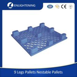 Material HDPE de 9 patas de servicio ligero de una vía de anidable barato Pallet plástico de exportación desechable de un solo uso