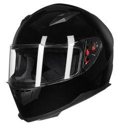 Toda la cara de la calle Moto Casco extraíble con cuello de invierno bufanda + 2 viseras DOT (M-XXL, Gloss negro)
