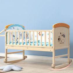 친환경, 무도장, 맞춤형 제작, 파인 목재 유아용 침대 포함 휠 세트 크림입니다