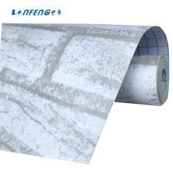 돋을새김된 백색 벽돌 돌 패턴 벽지 3D PVC 벽 종이