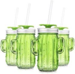 13,5 oz Vert Cactus forme verre Bocal potable avec poignée en verre de gros Mason Mugs Bouteille de verre pour l'eau froide