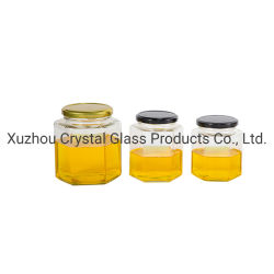 45ml-1000ml miel de la conservation des aliments hexagonal Jam Jar Jar de verre avec couvercle de l'ergot de métal