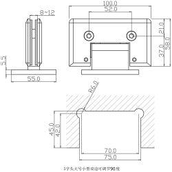 シャワー室システムガラススライドガラスクランプホールダー