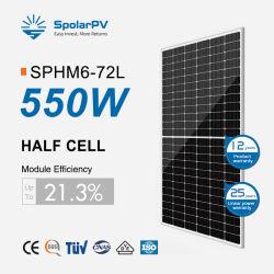 Zonnepaneel 530 W 540 W 550 W 555 W PV Solar met een rendement van 21% Module half Cell 182 mm voor zonnestelsel