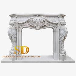 가득 차있는 거실을%s 손에 의하여 새겨지는 복잡한 유럽식 Exquisitive 백색 대리석 벽난로 주위