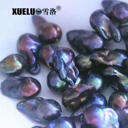 14-16mm qualité AAA noir véritable boule de feu d'eau douce cultivées nucléées lâche Baroque Pearl Beads pour bijoux (XL110042)