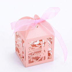 Eco friendly Wedding Favor Candy Box Caja de caramelos de corte láser con cinta de embalaje de suministros y fiestas eventos