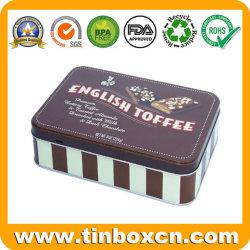 Boîte rectangulaire de qualité alimentaire de l'étain pour biscuit chocolat, Cookie de l'étain