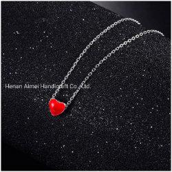 Glue の赤いハートの鎖の宝石類を落とす方法 925 の銀製ネックレス