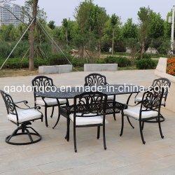 防水屋外の庭の家具の鋳造アルミのダイニングテーブルおよび椅子