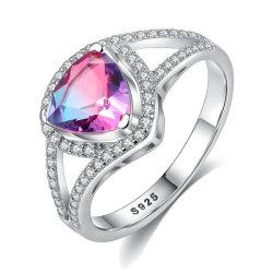 De in het groot Modieuze Ring van het Zirkoon van de Regenboog Echte Zilveren S925