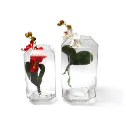 Plaza de la decoración de vidrio artesanales de artesanía de vidrio de color transparente Handblown florero de vidrio