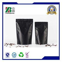 Matte schwarze Kunststoff-Aluminiumfolie, Kaffeeverpackungstasche mit Ventil