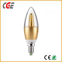 Bol van de LEIDENE de Toekomstige 3With5W C35 E14 E12 AC85-265V LEIDENE van de Gloeilamp Kaars van de Kaars Lichte met Gouden LEIDENE van de Huisvesting van het Aluminium LEIDEN van de Lamp Licht