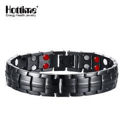 Pistolet à bracelets titane plaqué noir pour l'homme avec double rangée