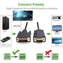 Dual Link-videokabel, DVI-naar-VGA-kabel voor één verbinding tussen grafische kaart en beeldscherm of projector