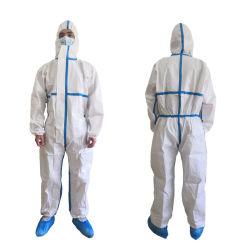 La vente directe d'usine Coverall Costume d'Hazmat robe de vêtements de protection de l'epi médicaux jetables de scaphandres de protection avec ce FR14126