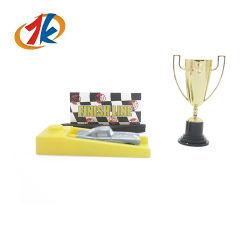 Promoção Carro de Corrida de plástico Launcher brinquedo com Troféu do Campeonato