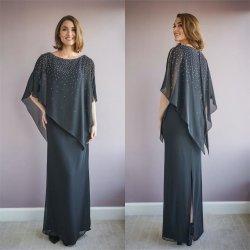 2021 Bainha Chiffon Mãe de vestidos de noiva cinzento escuro piso reforçado Longa Noite Robes Plus Size Wedding Comentários Prom Dress T21478