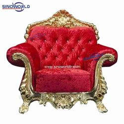 Retour haute en bois Royal King chaises avec des antiquités de la conception en cuir véritable