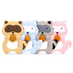 アライグマのシリコーンのTeetherの赤ん坊の歯生期のおもちゃの動物の整形慰めの咀嚼のゴム製ベビーシャワーのギフトの食品等級のシリコーン