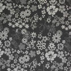 Estampado de flores de color negro de cuero PVC Artificial diseño decorativo
