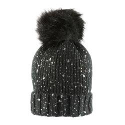 メス高品質メタリックプリントニットビニー帽子キャップ付き Big Faux Fur POM
