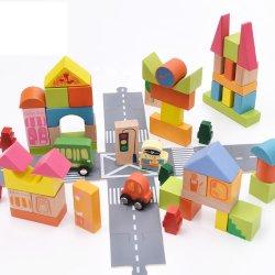 熱い販売子供のための教育木都市交通機関のブロックの木のスタッキングのブロックによってセットされるおもちゃ
