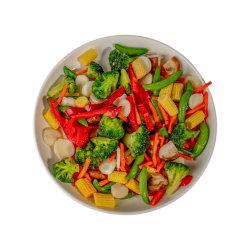 Vegetales Mixtos congelados mezcla Salteado de brócoli, floretes de guisantes Sugar Snap Castaño, el agua, cortar en rodajas Jilote, zanahorias, champiñones Shiitake, tiras de pimiento rojo