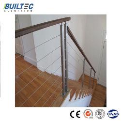 Câble en acier inoxydable balustrade en bois Haut de la main courante de clôture de l'escalier