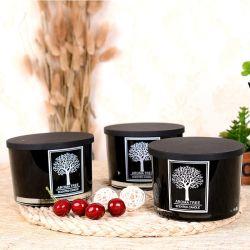 3 фитиль подключаемых модулей по современному дерева простые формы со стеклянным кувшином ароматические свечи с крышкой из нержавеющей стали