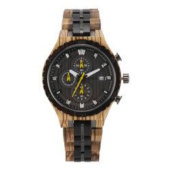 L'eau bois résistant aux cas avec boîtier en acier chronographe de luxe en bois Retour Watch