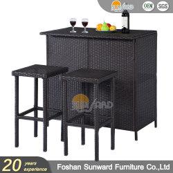 Comercio al por mayor Jardín Hotel Home Resort Villa proyecto chino de Patio Ocio personalizados de aluminio tejido PE ratán sillón de mimbre Bar con mesa y armario