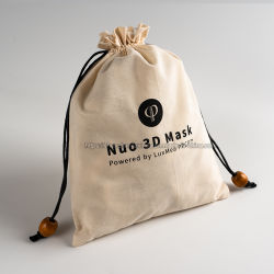 Impression personnalisée de la mousseline de coton naturel chiffon Sac avec lacet de serrage avec des perles