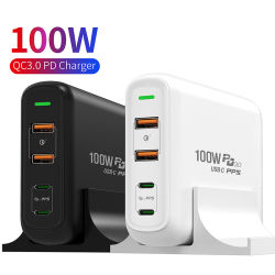 MacBook 100W 用 iPhone 用ポータブル 4 ポート PC Total Power QC3.0 Smart Travel Fast Charger Multi Station PD 充電器