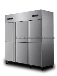Cuisine de qualité Super 6 portes commerciales réfrigérateur et congélateur vertical