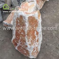 Большим количеством желтого цвета Slate угловой камень для наружной стены встать в угол